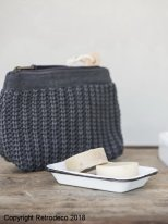 Pouch knitted dark grey Ib Laursen, vintage style
