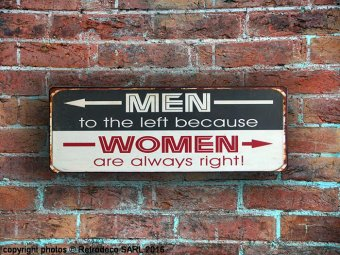 Decorative metal sign Men-Women, retro deco