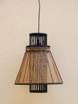 Black and canvas hanging lamp, natural style, Athezza