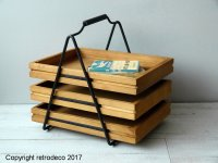 Wooden and metal documents holder, retro style, Chehoma