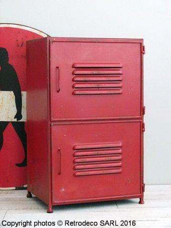Meuble industriel rouge 2 portes d co atelier antic line - Antic line meubles ...