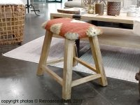 Wooden and kilim stool, ethnic style, Chehoma