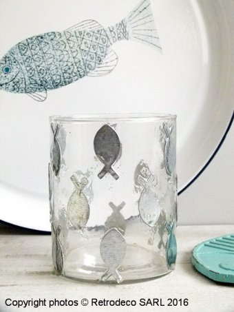 Glass and brass candle jar fish, seaside style, Chehoma