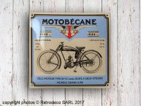 Enamelled metal sign Motobecane, vintage style, Email Replica