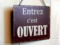 "Plaque m�tal ""Ouvert/ferm�"" - D�co atelier - Sphere Inter"