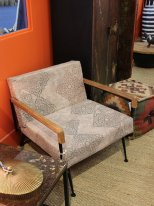 Print fabric low armchair Azilal Chehoma