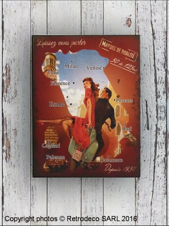Metal sign Carte Italie, garage style, Antic Line