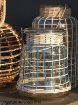 Glass lantern with blue and natural bamboo cane Madam Stoltz