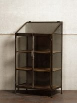 Black metal window cabinet 4 shelves Galeria, factory style
