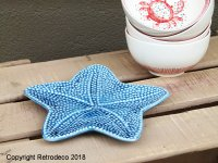 Blue ceramic small dish, seaside style, Sphere Inter