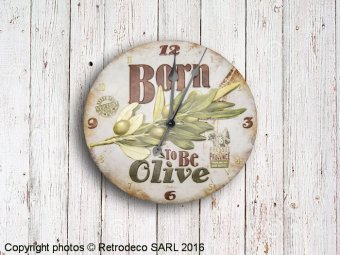 Metal clock Born to be olive, retro deco, Natives