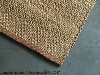 Jute rug weaved handle rust, Chehoma