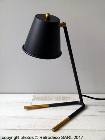 Brass and black table lamp, Madam Stoltz