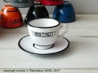Ceramic cup and saucer expresso Bistrot white, bistro style