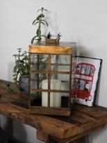 Glass and brass lantern, antique decor, Chehoma
