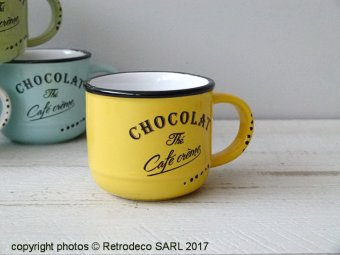 Ceramic coffee cup Chocolate yellow, bistro style, Antic Line