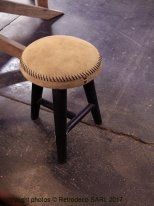 Stool imitation suede beige Chehoma