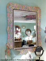 Wooden and handpainted mirror Bigarré Chehoma