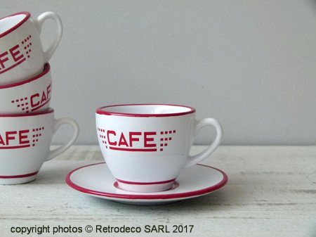 Ceramic cup and saucer expresso Café white and red, bistro style
