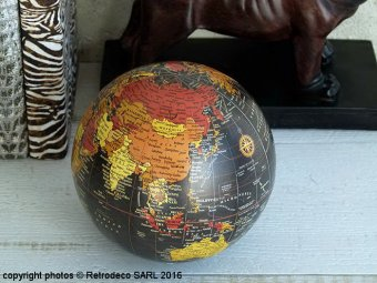 Large black Globe ball, antique deco, Sphere Inter