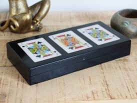 Wooden with 3 cards games, antique decor, Chehoma