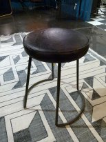 Antique black leather stool Chehoma