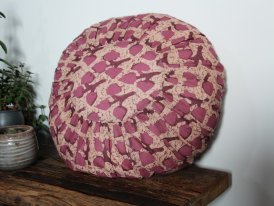 Round printed cotton cushion Powder, rose, rhodondendron