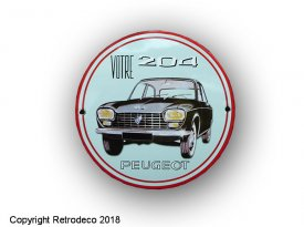 Enamelled round metal sign Peugeot 204, Email Replica