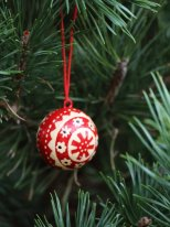 Small red christmas ornament white pattern, Christmas style