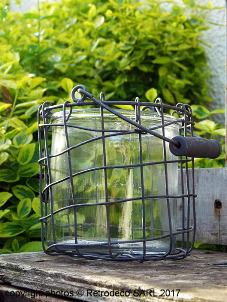 Wire candle holder and glass, countryside style, Tobs