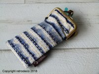 Retro glasses case with lined and gold fabric, Anhad