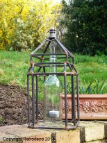 Metal cage with a bottle candle jar, antique style, Chehoma