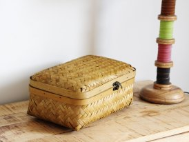 Small bamboo box, country decor, Athezza