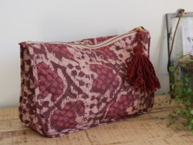 Printed fabric toilet bag burgundy tassel Madam Stoltz