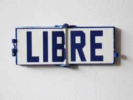 Metal sign Libre-Occupé, factory style, Antic Line