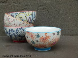 Ceramic bowl Bliss orange flowers Chehoma