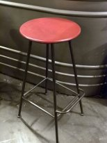 Red metal bar stool, factory style, Antic Line