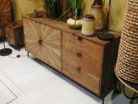 Wooden dresser Surate 2 doors 3 drawers, ethnic decor, Hanjel
