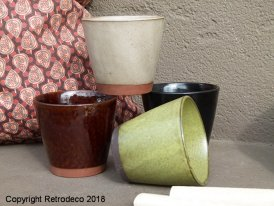 Set of 4 stoneware mugs, natural style, Madam Stoltz