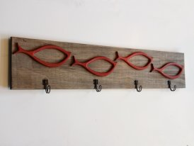 Wooden coat rack Fish with 4 hooks, seaside decor, Chehoma