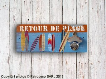 Wooden bottle-opener Retour de plage, seaside deco, Sphere Inter