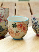 Ceramic espresso cup Bliss orange flowers Chehoma