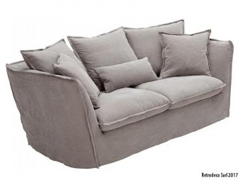 Paros two-seater sofa with gray linen, Hanjel