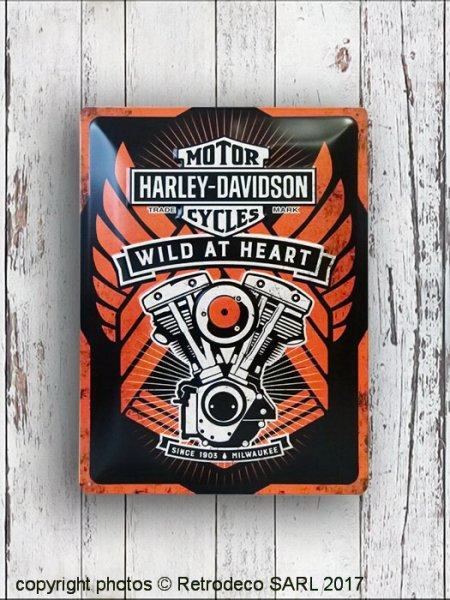 Plaque métal Harley Davidson Wild at Heart GM, déco garage