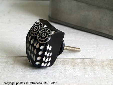 Black doorknob Owl, ethnic chic deco, Madam Stoltz