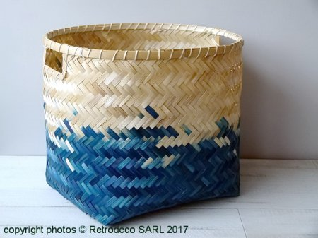 Corbeille Bamboo GM bleue et naturelle, Athezza
