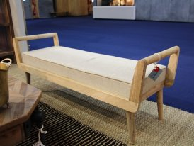 Beige linen and mango bench seat Faustine Chehoma