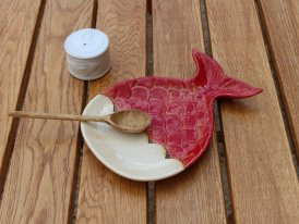 Ceramic aperitif plate Whale red, seaside decor, Chehoma