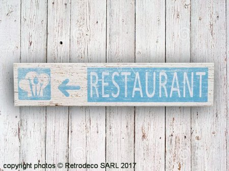 Wooden sign Restaurant, bistro style, Sphere Inter