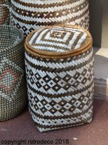 Small white and brown bambou basket with lid Madam Stoltz